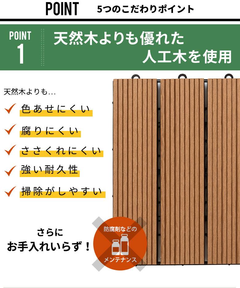 天然木よりも優れた人工木を使用