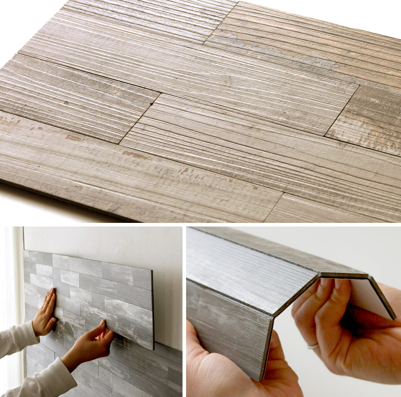 シール式。木目調の壁材