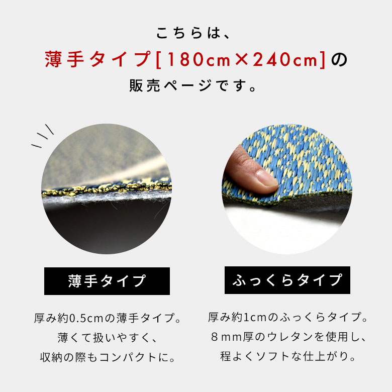 こちらは薄手タイプ、180×240cmの販売ページです。