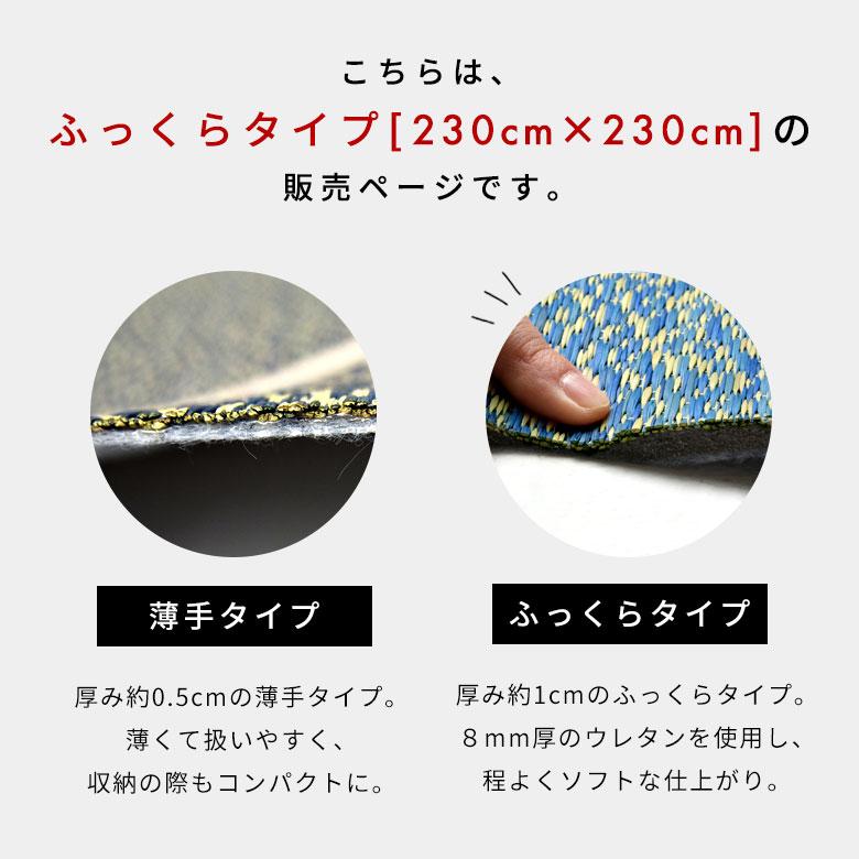 こちらはふっくらタイプ、230×230cmの販売ページです。