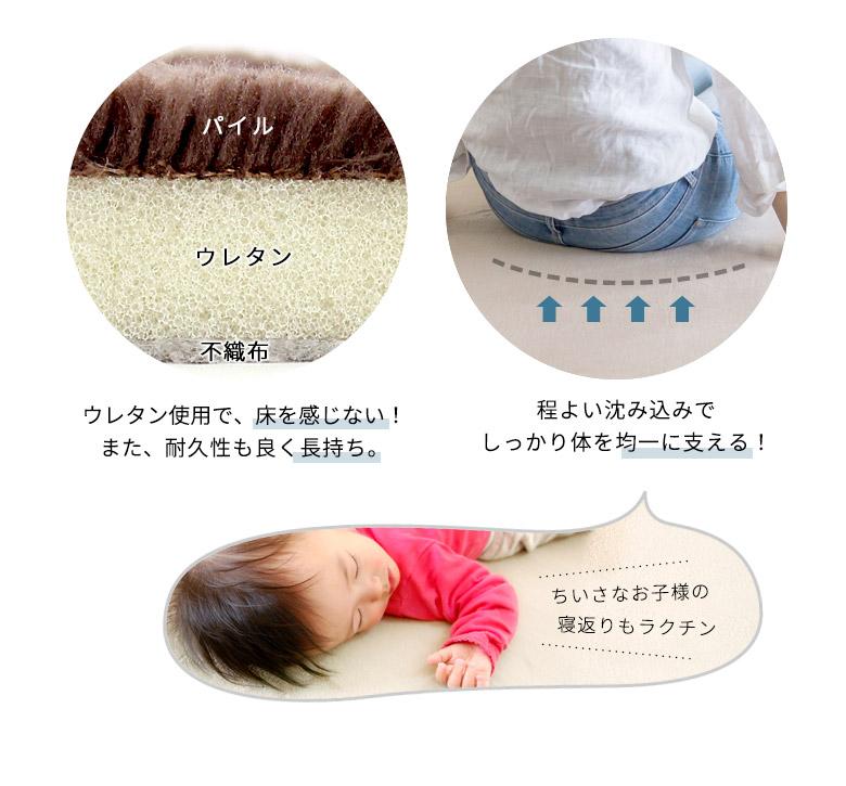 ウレタン使用で、床を感じない! また、耐久性も良く長持ち。程よい沈み込みでしっかり体を均一に支える!
