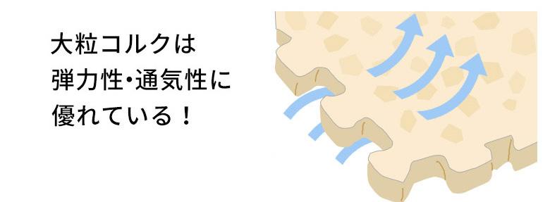 大粒コルクは弾力性・通気性に優れている。